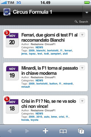 CircusF1.com in versione mobile
