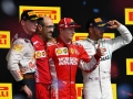 AUSTIN, TX - OCTOBER 21:  Race winner Kimi Raikkonen of Finland and Ferrari, second placed Max Verstappen of Netherlands and Red Bull Racing and third placed Lewis Hamilton of Great Britain and Mercedes GP celebrate on the podium during the United States Formula One Grand Prix at Circuit of The Americas on October 21, 2018 in Austin, United States.  (Photo by Clive Mason/Getty Images)