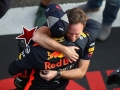 SHANGHAI, CHINA - APRIL 15:  Race winner Daniel Ricciardo of Australia and Red Bull Racing celebrates with Red Bull Racing Team Principal Christian Horner after the Formula One Grand Prix of China at Shanghai International Circuit on April 15, 2018 in Shanghai, China.  (Photo by Clive Mason/Getty Images)