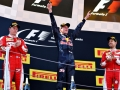 MONTMELO, SPAIN - MAY 15: Max Verstappen of Netherlands and Red Bull Racing celebrates his first F1 win on the podium with Kimi Raikkonen of Finland and Ferrari and Sebastian Vettel of Germany and Ferrari during the Spanish Formula One Grand Prix at Circuit de Catalunya on May 15, 2016 in Montmelo, Spain.  (Photo by Clive Mason/Getty Images)