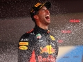 MONTE-CARLO, MONACO - MAY 27:  Race winner Daniel Ricciardo of Australia and Red Bull Racing celebrates on the podium during the Monaco Formula One Grand Prix at Circuit de Monaco on May 27, 2018 in Monte-Carlo, Monaco.  (Photo by Dan Istitene/Getty Images)