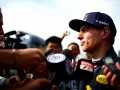 MONTMELO, SPAIN - MAY 18:  Max Verstappen of Netherlands and Red Bull Racing speaks with members of the media after day two of formula one testing at Circuit de Catalunya on May 18, 2016 in Montmelo, Spain.  (Photo by Dan Istitene/Getty Images)