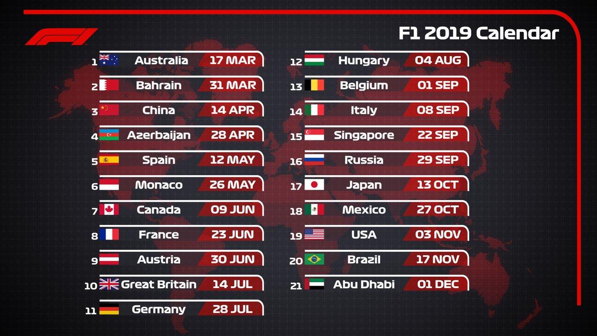 Calendario Numero Settimana 2019.Calendario F1 2019 Le Date Dei 21 Gp In Programma Da Marzo