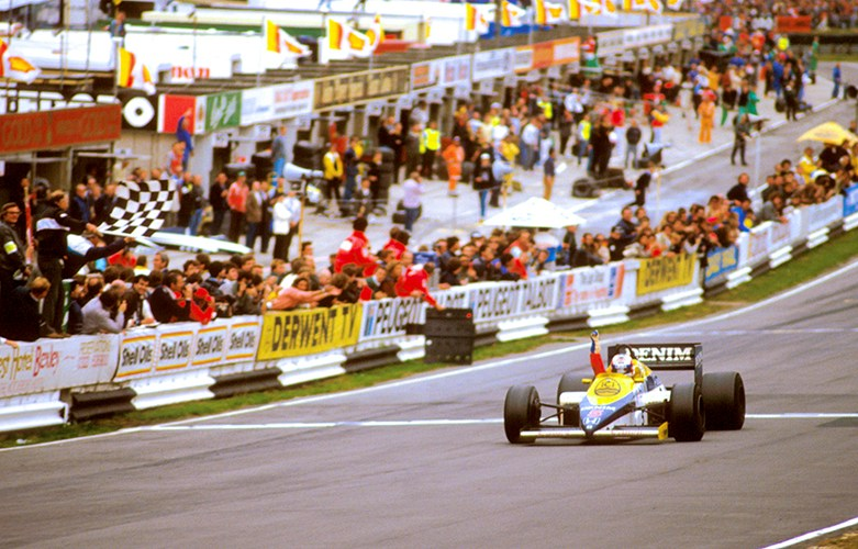 Nigel Mansell first Grand Prix win 1985 - brandshatch.co.uk