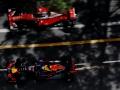 MONTE-CARLO, MONACO - MAY 26: Daniel Ricciardo of Australia driving the (3) Red Bull Racing Red Bull-TAG Heuer RB12 TAG Heuer drives past Kimi Raikkonen of Finland driving the (7) Scuderia Ferrari SF16-H Ferrari 059/5 turbo (Shell GP) on track during practice for the Monaco Formula One Grand Prix at Circuit de Monaco on May 26, 2016 in Monte-Carlo, Monaco.  (Photo by Mark Thompson/Getty Images)