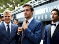 MONTE-CARLO, MONACO - MAY 27: Jolyon Palmer of Great Britain and Renault Sport F1, Marcus Ericsson of Sweden and Sauber F1 and Daniel Ricciardo of Australia and Red Bull Racing backstage at the Amber Lounge fashion show during previews to the Monaco Formula One Grand Prix at Circuit de Monaco on May 27, 2016 in Monte-Carlo, Monaco.  (Photo by Mark Thompson/Getty Images)