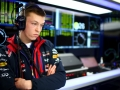 JEREZ DE LA FRONTERA, SPAIN - FEBRUARY 01:  Daniil Kvyat of Russia and Infiniti Red Bull Racing looks on in the garage during day one of Formula One Winter Testing at Circuito de Jerez on February 1, 2015 in Jerez de la Frontera, Spain.  (Photo by Mark Thompson/Getty Images)
