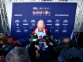 JEREZ DE LA FRONTERA, SPAIN - FEBRUARY 01:  Adrian Newey, the Chief Technical Officer of Infiniti Red Bull Racing speaks to members of the media at a press conference during day one of Formula One Winter Testing at Circuito de Jerez on February 1, 2015 in Jerez de la Frontera, Spain.  (Photo by Mark Thompson/Getty Images)