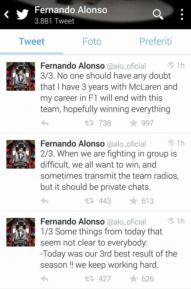 Alonso tweet dopo Japan Gp