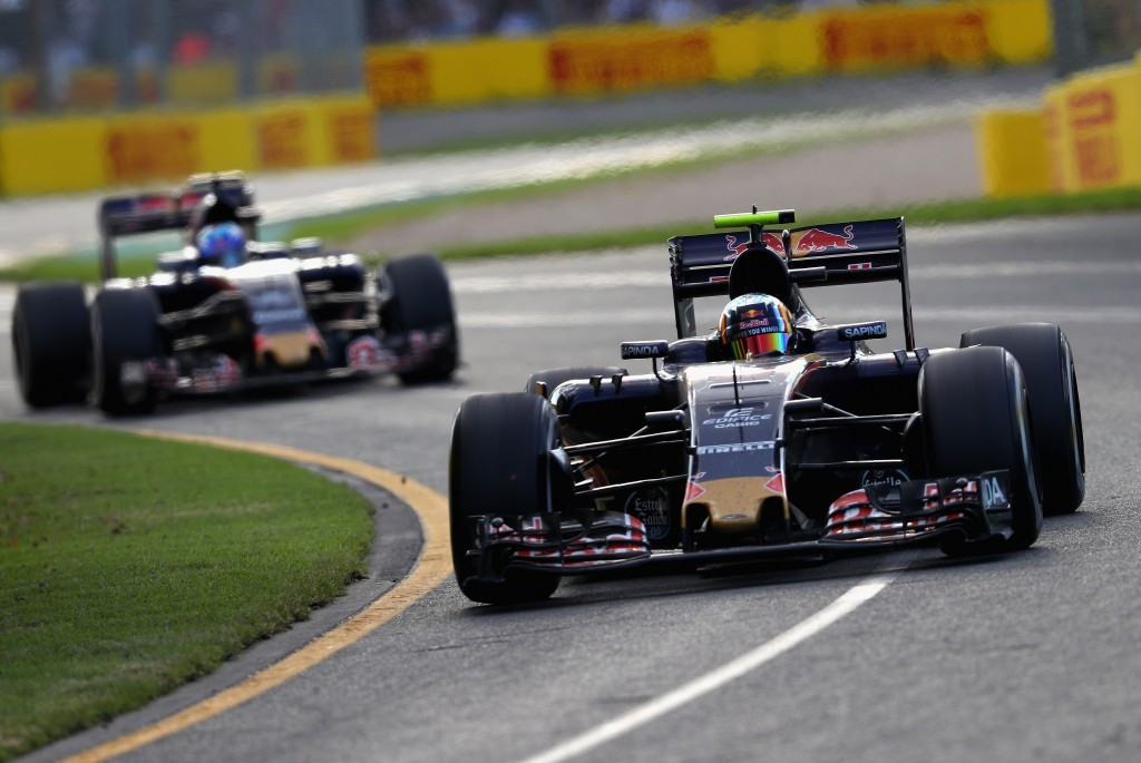 MELBOURNE, AUSTRALIA - MARCH 20: Carlos Sainz of Spain drives the (55) Scuderia Toro Rosso STR11 Ferrari 059/5 turbo on track ahead of Max Verstappen of the Netherlands drives the (33) Scuderia Toro Rosso STR11 Ferrari 059/5 turbo during the Australian Formula One Grand Prix at Albert Park on March 20, 2016 in Melbourne, Australia.  (Photo by Clive Mason/Getty Images)