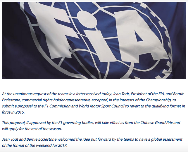 FIA Statement shoot out format F1