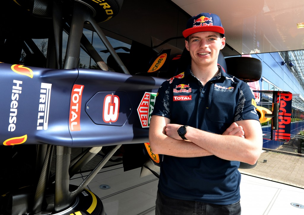 MILTON KEYNES, UNITED KINGDOM - MAY 05:  Max Verstappen of the Netherlands and Red Bull Racing next to the Red Bull Racing RB12 on May 5, 2016 at the Red Bull Racing Factory, Milton Keynes, England.  (Photo by Tony Marshall/Getty Images)