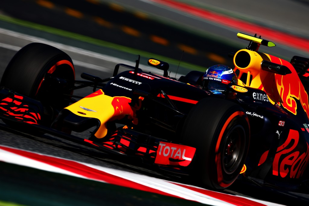 MONTMELO, SPAIN - MAY 13: Max Verstappen of the Netherlands driving the (33) Red Bull Racing Red Bull-TAG Heuer RB12 TAG Heuer on track during practice for the Spanish Formula One Grand Prix at Circuit de Catalunya on May 13, 2016 in Montmelo, Spain.  (Photo by Dan Istitene/Getty Images)