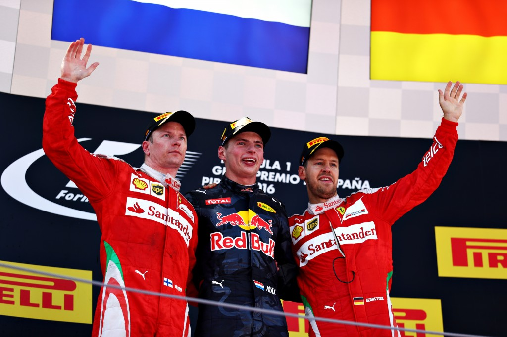 MONTMELO, SPAIN - MAY 15: Max Verstappen of Netherlands and Red Bull Racing celebrates on the podium with Kimi Raikkonen of Finland and Ferrari and Sebastian Vettel of Germany and Ferrari during the Spanish Formula One Grand Prix at Circuit de Catalunya on May 15, 2016 in Montmelo, Spain.  (Photo by Clive Mason/Getty Images)