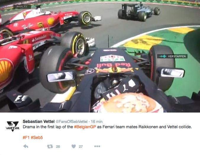 Contatto alla prima curva a SPA tra Vettel, Raikkonen e Verstappen