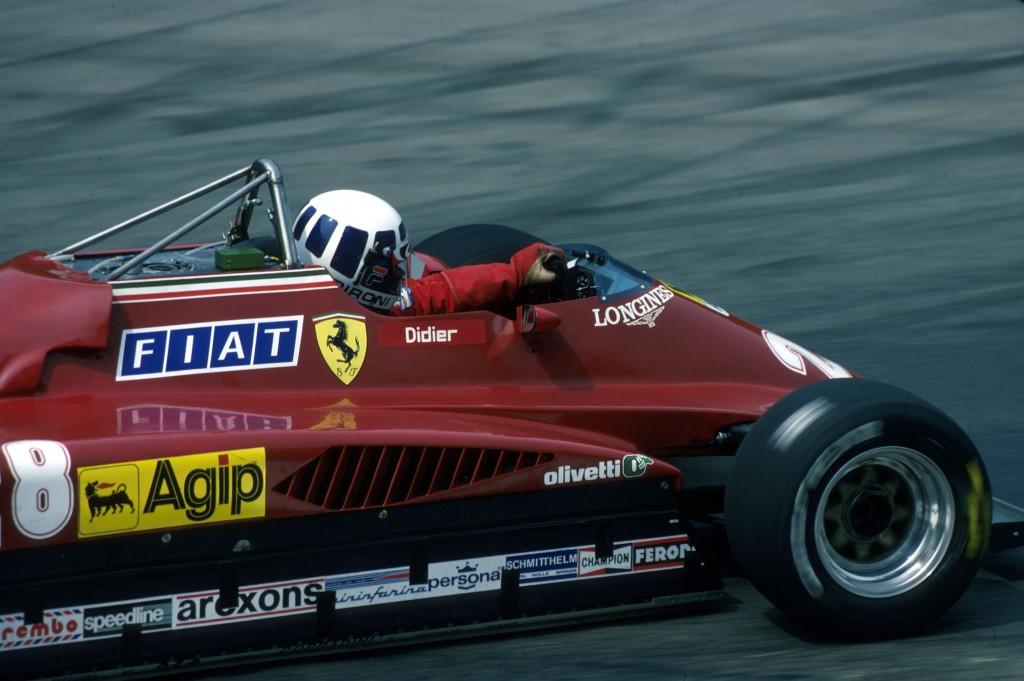 COPERTINA Pironi su Ferrari 126C2 nel 1982
