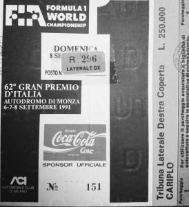 Ticket Monza F1 1991