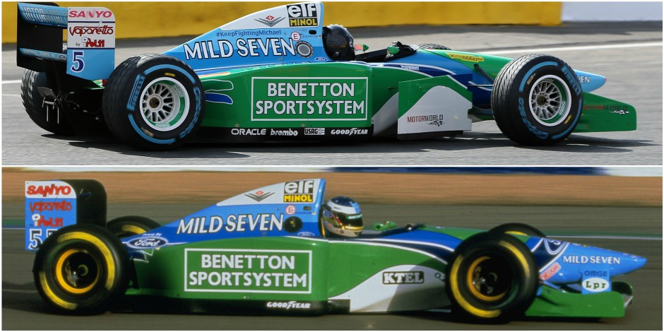 Mick Schumacher (sopra) e Michael Schumacher (sotto) su Benetton Ford B194 - foto: dhnet.be